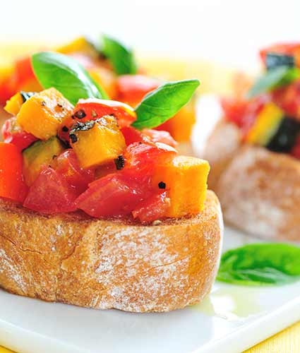 resh Tomatoes and Roasted Pumpkin Bruschetta